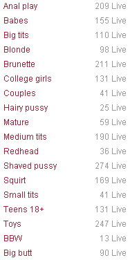 Screenshot of BongaCams Categories