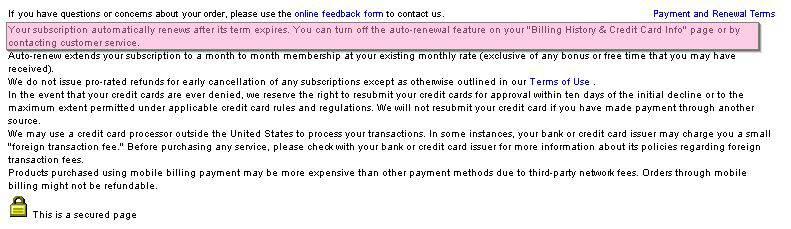 Screenshot of Cams.com Recurring Payment Fine Print