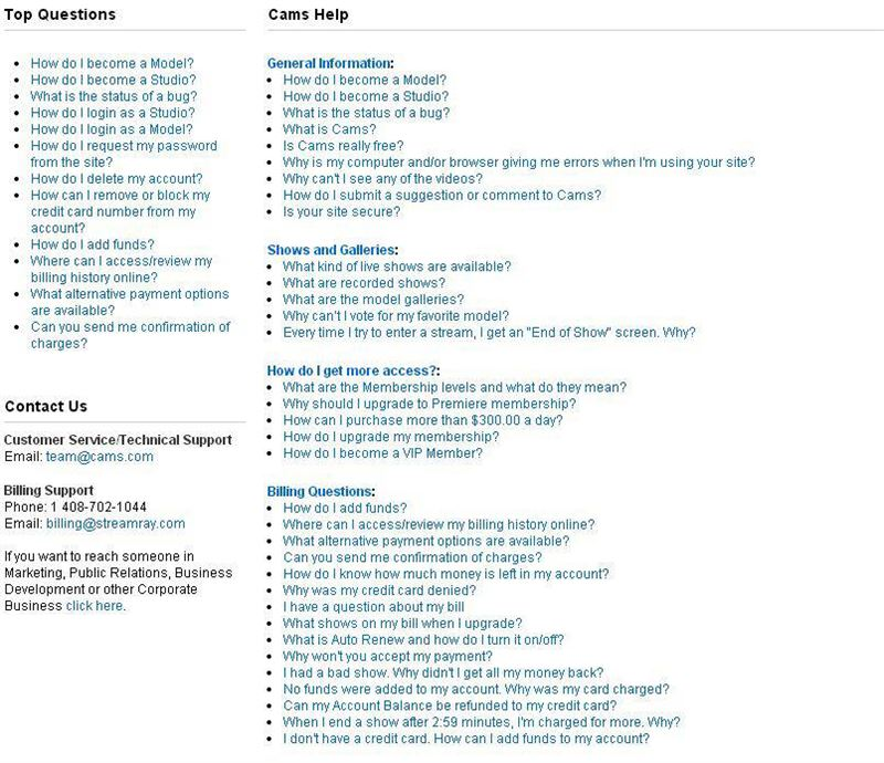 Screenshot of Cams.com FAQ Section