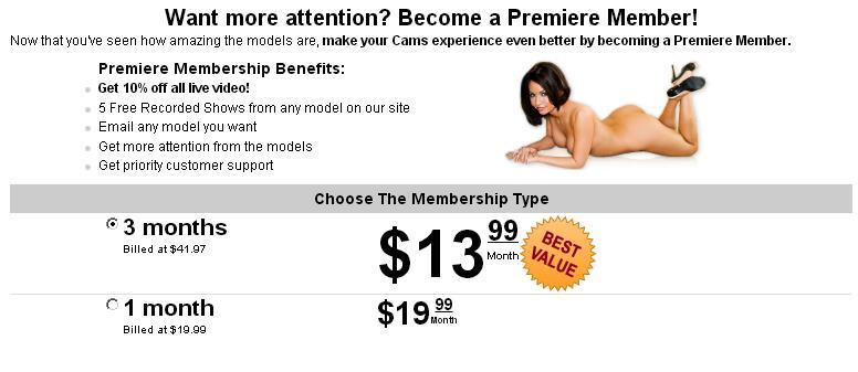 Screenshot of Cams.com Premiere Membership Signup Form