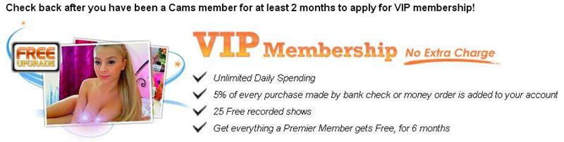 Screenshot of Cams.com VIP Membership Benefits