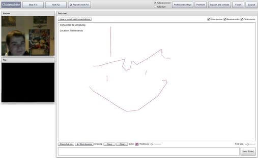 Screenshot of Chatroulette Chat Session