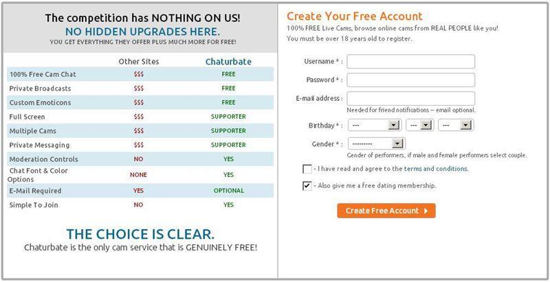 Screenshot of Free Signup Screen