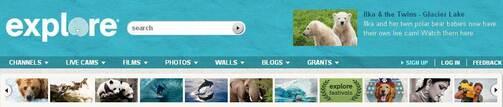 Screenshot of Explore.org Navigation