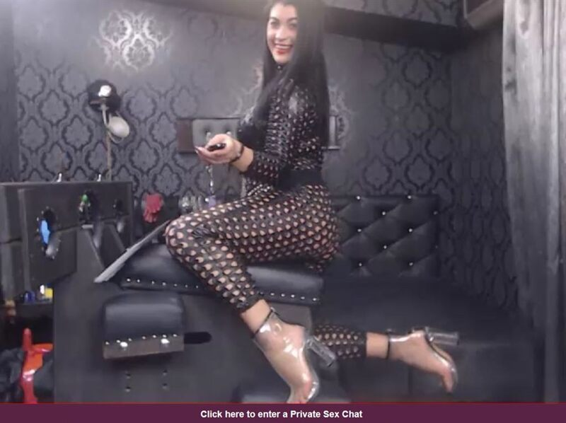 FetishGalaxy webcam model in leather riding a Sybian