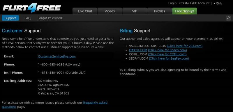 Screenshot of Customer Support Page