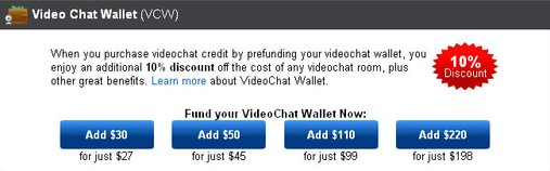Screenshot of iFriends VideoChat Wallet Funding Options