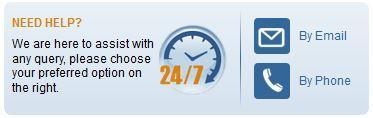 Screenshot of Customer Support Options