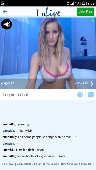 ImLive's sex chat rooms viewed upright