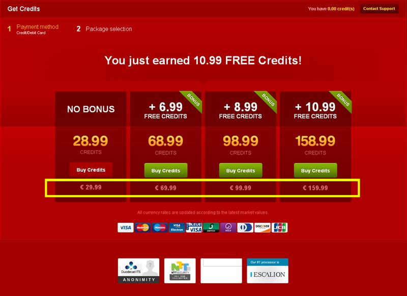 Screenshot of LiveJasmin Credit Packages in EUR