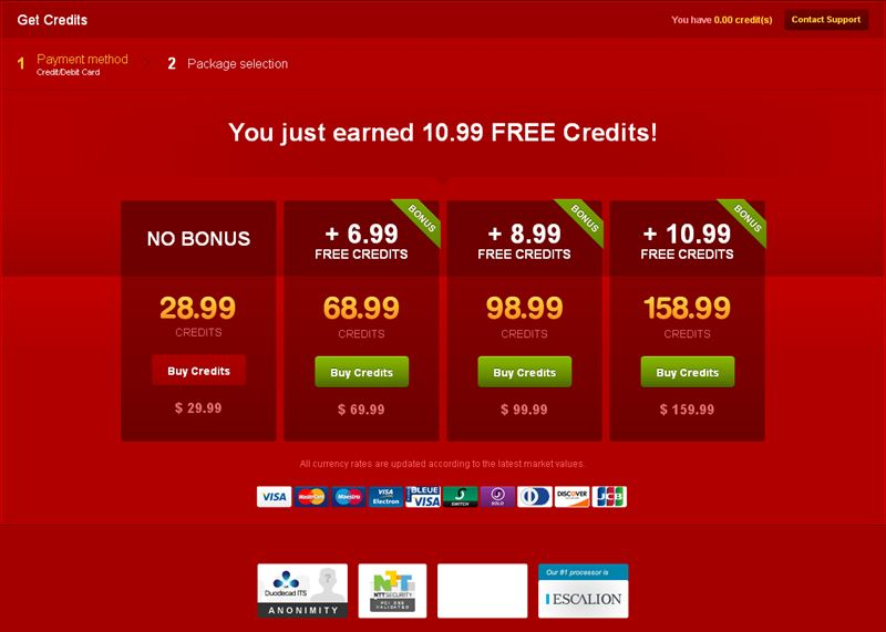 Screenshot of LiveJasmin Credit Packages in USD