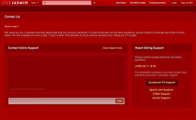 LiveJasmin Online Support Screen