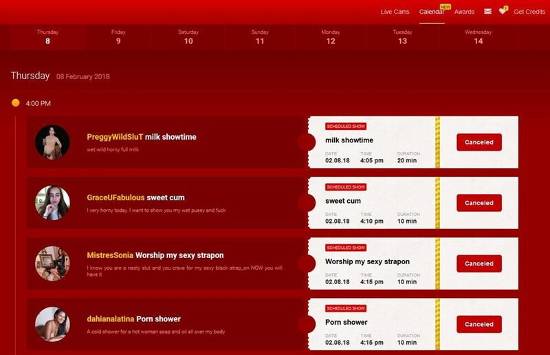 Click on the Calender to see all of LiveJasmin's upcoming shows