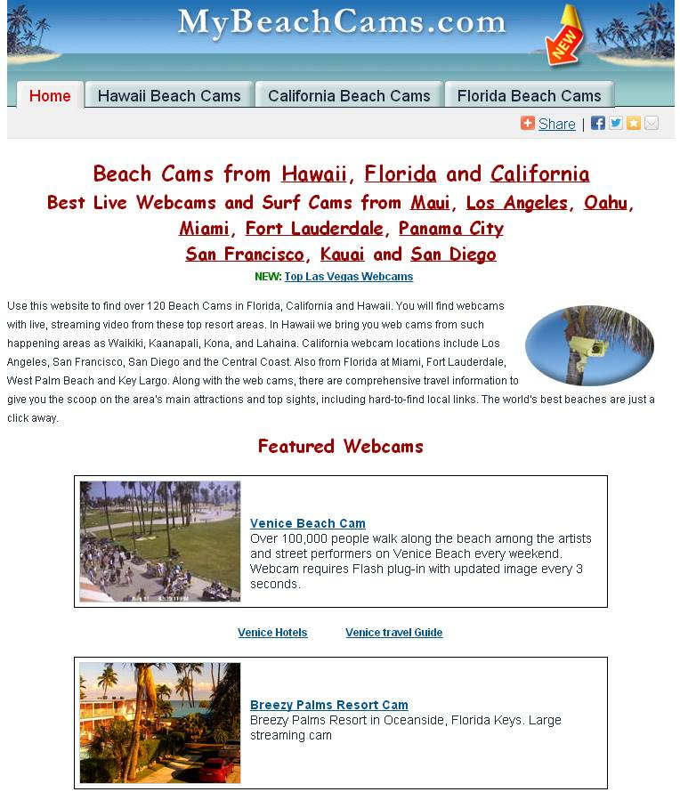 Screenshot of MyBeachCams Homepage