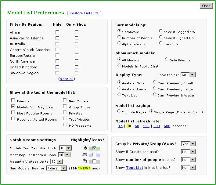 Screenshot of Preferences Menu