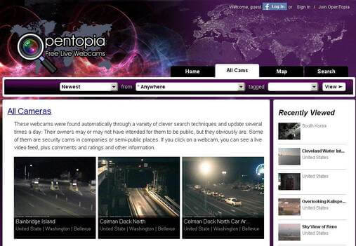 Screenshot of Opentopia Homepage