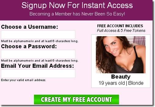 Screenshot of Free Signup