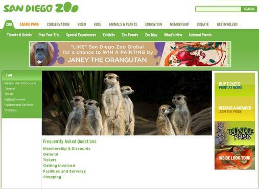 Screenshot of San Diego Zoo FAQ
