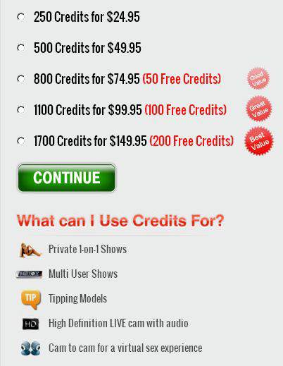 Screenshot of Credit Packages