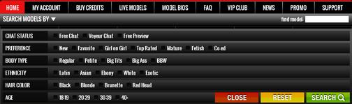 Screenshot of Cam Model Filters
