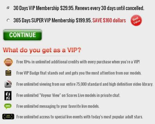 Screenshot of VIP Membership