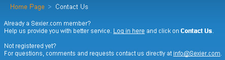 Screenshot of Contact Page