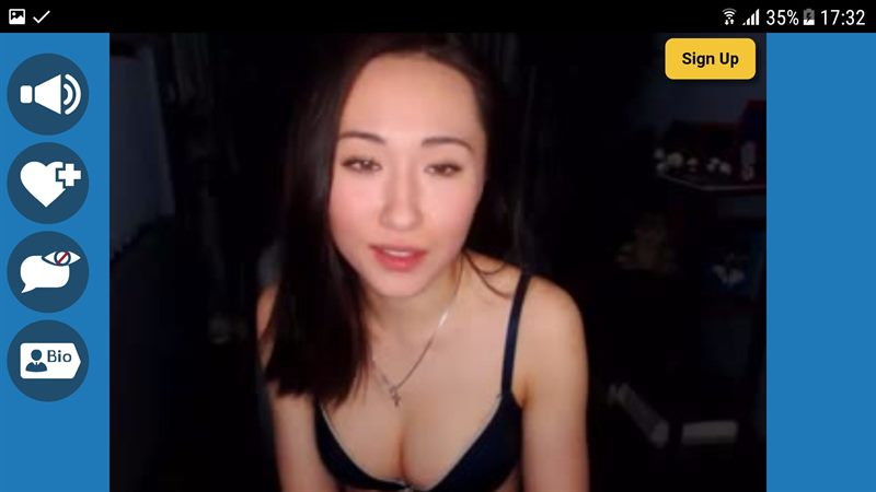 Asian webcam model watched on an Android device