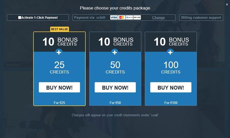 Screenshot of Purchasing Credits