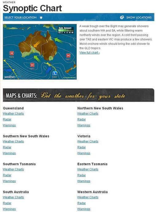 Screenshot of Weather Menu