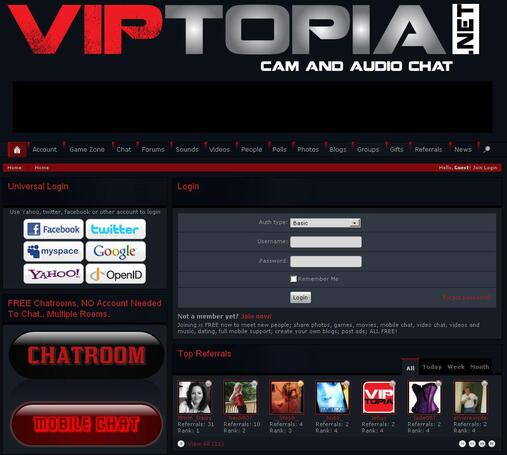 Screenshot of VIPTopia Home Page