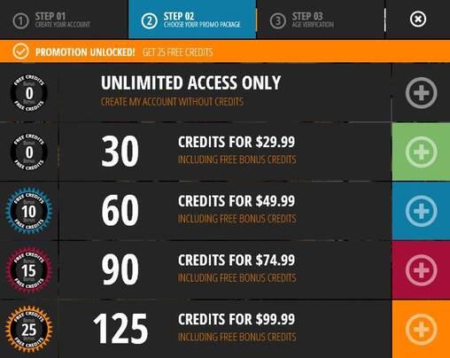 Screenshot of Choosing a Credit Package