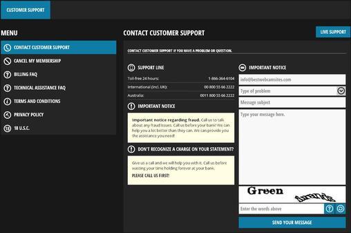Screenshot of Customer Support Screen