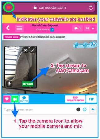 How to start cam2cam on CamSoda mobile site