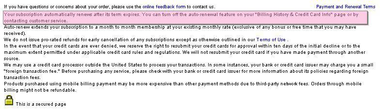 Screenshot of Cams.com Recurring Payment Fine Print
