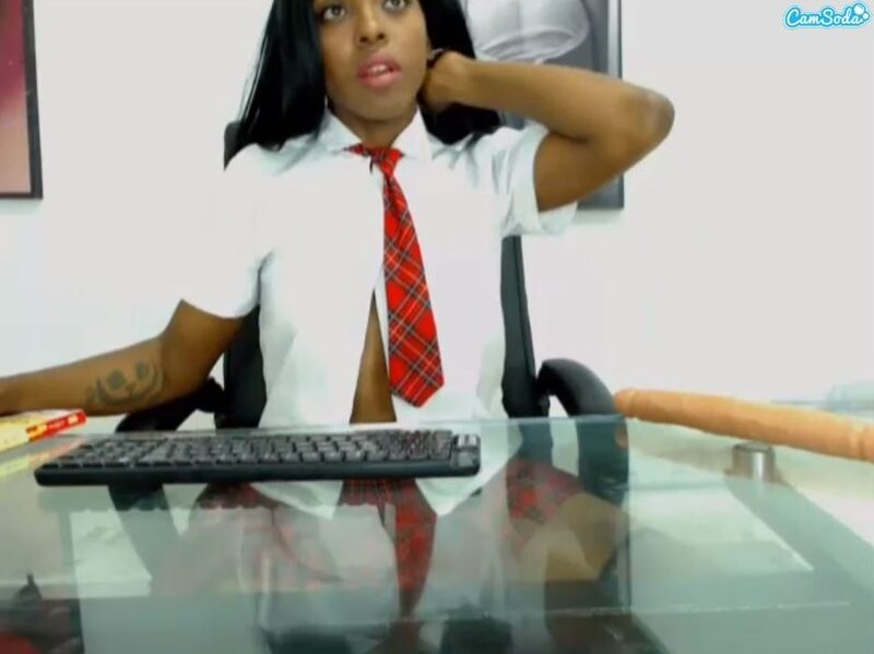 Ebony webcam model in school girl outfit on CamSoda