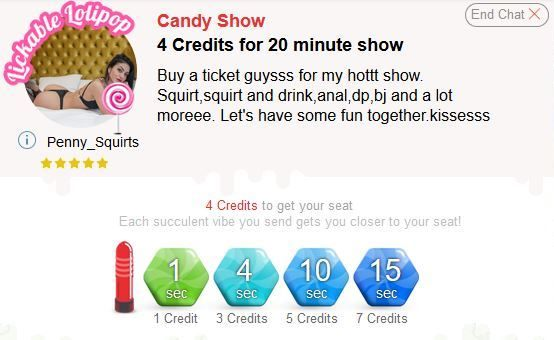 A screenshot of the prices of an ImLive model's Candy Show prices