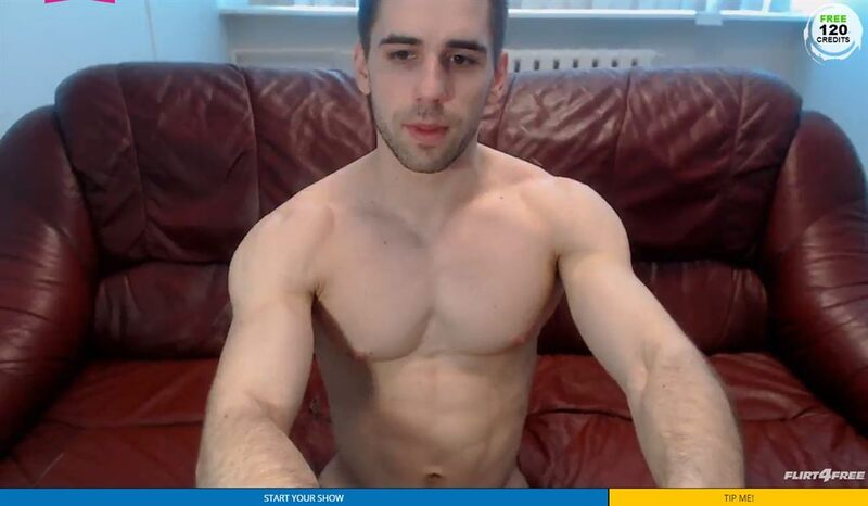 Screenshot of a muscular gay man on Flirt4Free