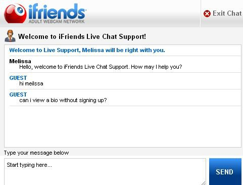 Screenshot of iFriends.net Live Support Feature