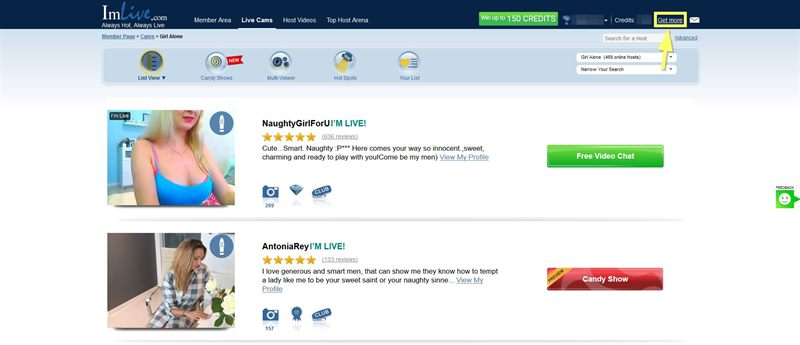 Look for the Get more text link to buy credits on ImLive