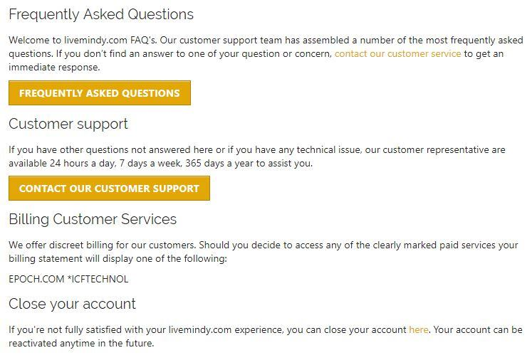 LiveMindy customer support section