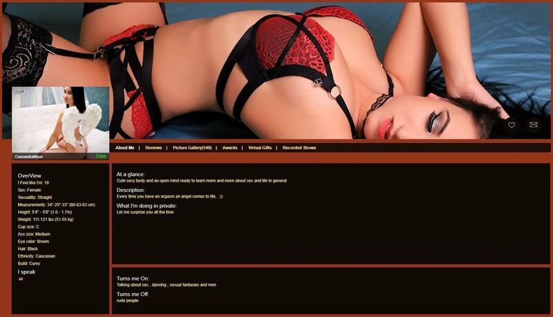 PhoneMates cam model profile page
