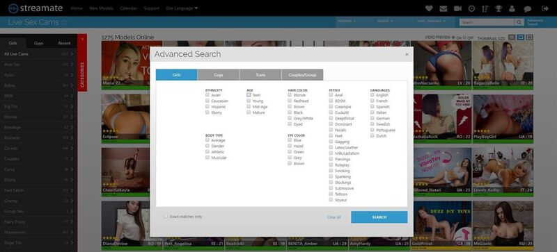 Streamate's layout and advanced search feature