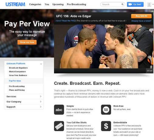 Screenshot of uStream Pay-Per-View