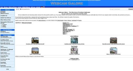 Screenshot of WebcamGalore Homepage