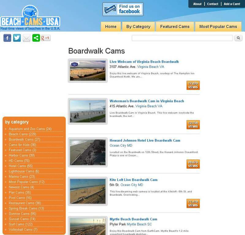 Screenshot of Boardwalk Webcams Category Page