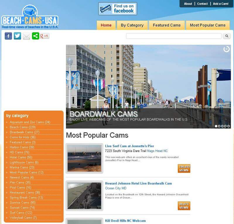 Screenshot of BeachCamsUSA.com Homepage