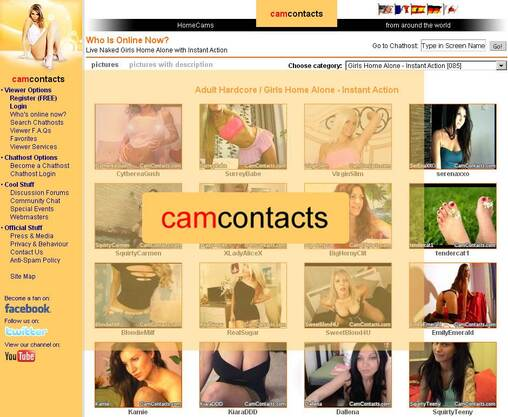 Screenshot of CamContacts.com Gallery Page