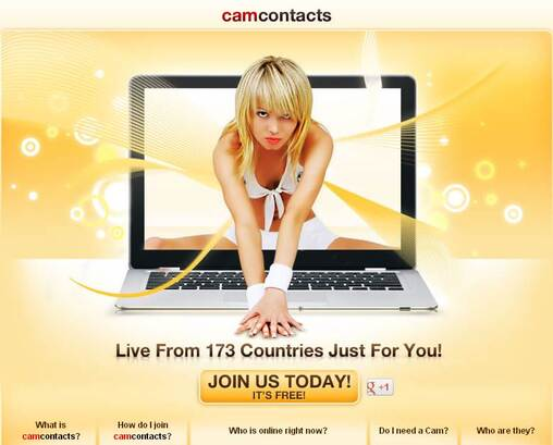 Screenshot of Cam Contacts Home Page