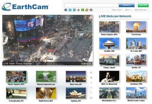 Screenshot of EarthCam.com Homepage