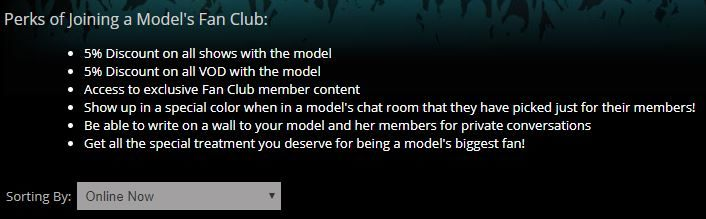 Fan club perks on Flirt4Free